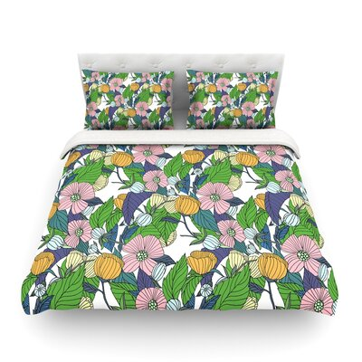 Spring Foliage Floral Pastels by Catherine Holcombe Featherweight Duvet Cover Size: Twin
