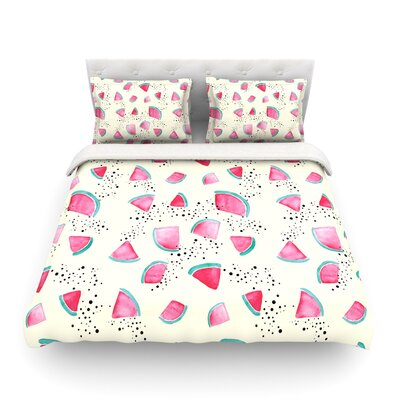 Watermelon Food by Danii Pollehn Featherweight Duvet Cover Size: Full/Queen