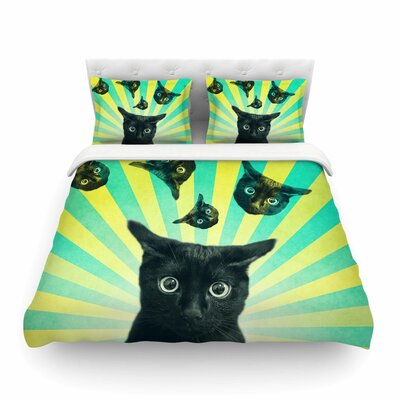 Cat Explosion by Cvetelina Todorova Featherweight Duvet Cover Size: King