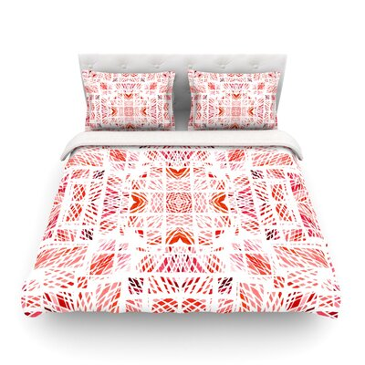 Scandanavian Square by Danii Pollehn Featherweight Duvet Cover Color: Pink/Red, Size: Full/Queen
