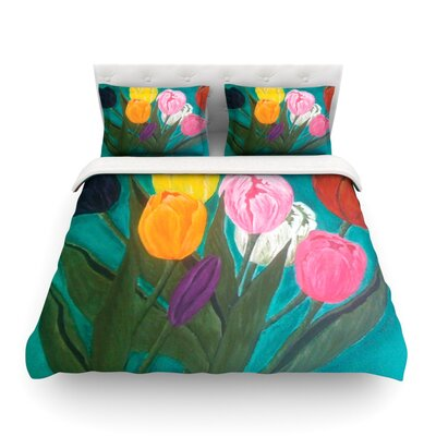 Tulips Rainbow Flower by Christen Treat Featherweight Duvet Cover Size: King
