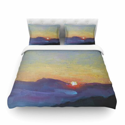 Mountain Sunset Orange Nature Featherweight Duvet Cover Size: Twin
