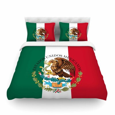 Mexico Flag and Coat of Arms by Bruce Stanfield Featherweight Duvet Cover Size: Full/Queen