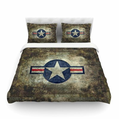USAF Vintage Retro Style Round by Bruce Stanfield Featherweight Duvet Cover Size: Full/Queen