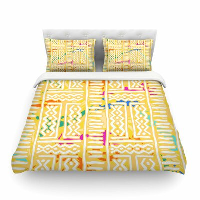 Lines and Zigzags - by Dan Sekanwagi Colorful Tribal Featherweight Duvet Cover Size: Twin