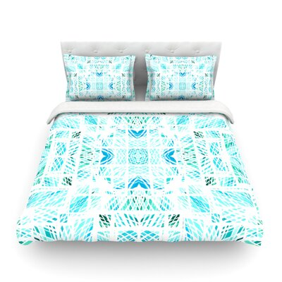 Scandanavian Square by Danii Pollehn Featherweight Duvet Cover Color: Blue/Teal, Size: Full/Queen