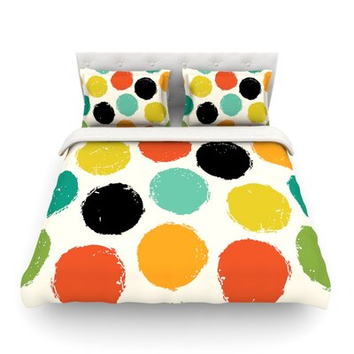 Retro Dots Circles Featherweight Duvet Cover Size: Full/Queen
