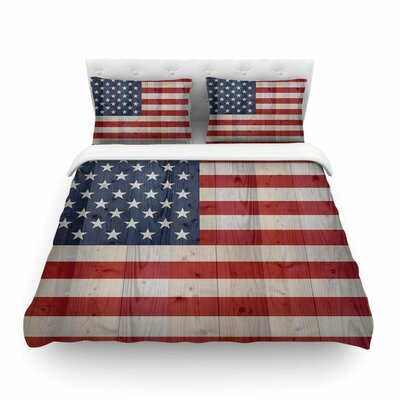 USA Flag on Spruce by Bruce Stanfield Featherweight Duvet Cover Size: Full/Queen