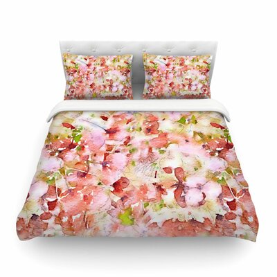 Floral Fantasy Abstract by Carolyn Greifeld Featherweight Duvet Cover Color: Pink, Size: Twin