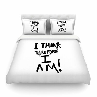 I Think, Therefore I Am Typography by Bruce Stanfield Featherweight Duvet Cover Size: Twin, Color: White/Black