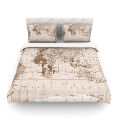 Emerald World Vintage Map by Catherine Holcombe Featherweight Duvet Cover Size: Full/Queen