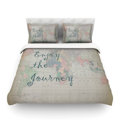 Journey World Map by Catherine Holcombe Featherweight Duvet Cover Size: King