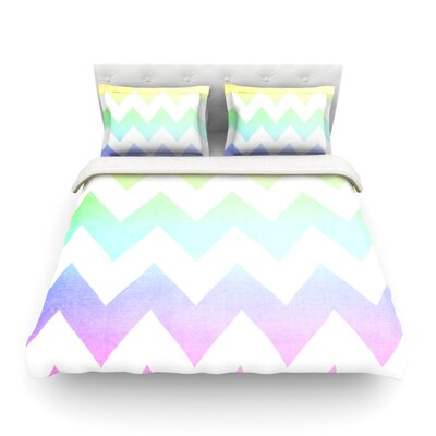 Water Color Chevron by Catherine McDonald Featherweight Duvet Cover Size: Twin