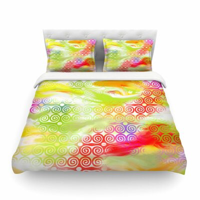 Locked Rams Horns Rainbow Abstract by Dan Sekanwagi Featherweight Duvet Cover Size: Full/Queen
