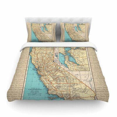 So Cal Surf Map by Catherine Holcombe Featherweight Duvet Cover Size: King