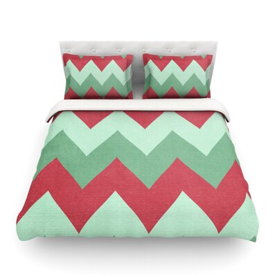 Holiday Chevrons by Catherine McDonald Featherweight Duvet Cover Size: Twin