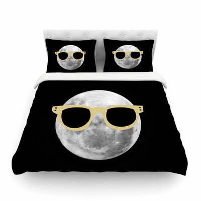 Mr. Moon Yellow Illustration by Chelsea Victoria Featherweight Duvet Cover Size: Full/Queen