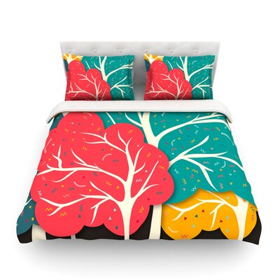 Happy Forest Trees by Danny IvanFeatherweight Duvet Cover Size: King