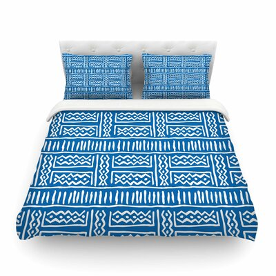 Lines and Zigzags Tribal by Dan Sekanwagi Featherweight Duvet Cover Size: King