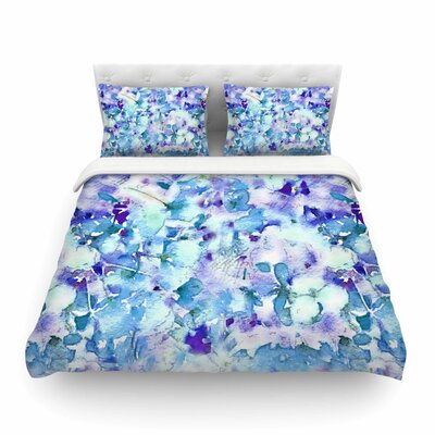 Floral Fantasy Abstract by Carolyn Greifeld Featherweight Duvet Cover Color: Blue/Purple/White, Size: King