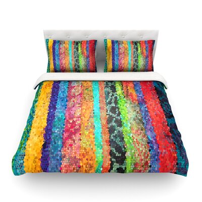 Stained Glass Batik Mosaic Stripe by Catherine Holcombe Featherweight Duvet Cover Size: King
