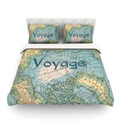 Voyage Map by Catherine Holcombe Featherweight Duvet Cover Size: Full/Queen