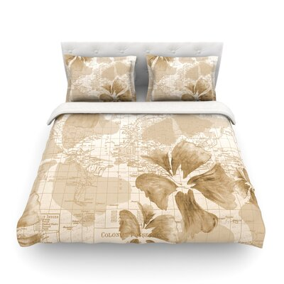 Flower Power Map by Catherine Holcombe Featherweight Duvet Cover Size: Full/Queen, Color: Tan