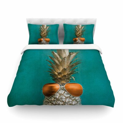 24 Karat Pineapple by Chelsea Victoria Featherweight Duvet Cover Size: Twin