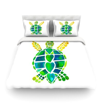 Turtle Love Green by Catherine Holcombe Featherweight Duvet Cover Size: Twin