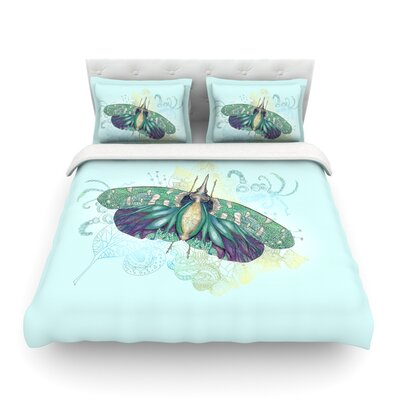 Deco Moth by Catherine Holcombe Featherweight Duvet Cover Size: Full/Queen