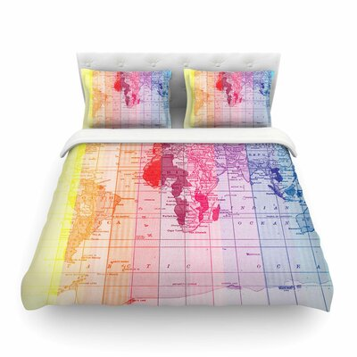 Rainbow World Map by Catherine Holcombe Featherweight Duvet Cover Size: Full/Queen