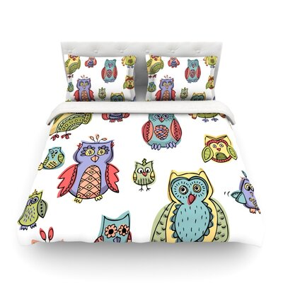 Owls by Brienne Jepkema Featherweight Duvet Cover Size: Twin, Color: White