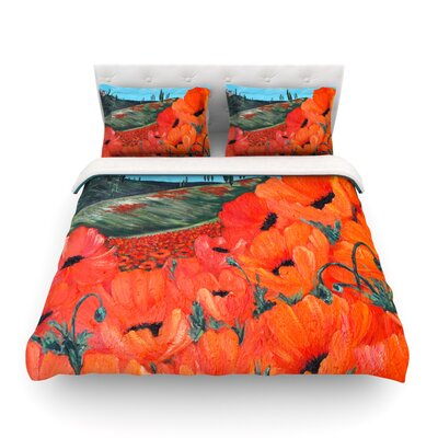 Poppies by Christen Treat Featherweight Duvet Cover Size: Twin