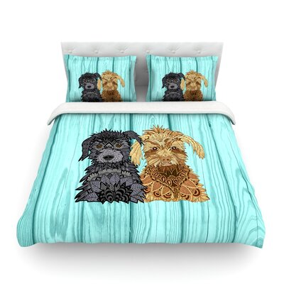 Daisy and Gatsby Abstract Puppies by Art Love Passion Featherweight Duvet Cover Size: Full/Queen