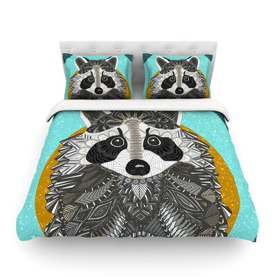 Racoon in Grass by Art Love Passion Featherweight Duvet Cover Size: Full/Queen