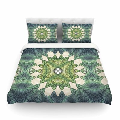 Forest Leaves Repeat Geometric by Art Love Passion Featherweight Duvet Cover Size: Full/Queen