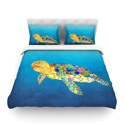 Bubbles Turtle by Catherine Holcombe Featherweight Duvet Cover Size: Full/Queen