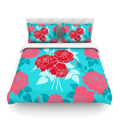 Summer Rose Featherweight Duvet Cover Size: Twin, Color: Red/Blue Aqua