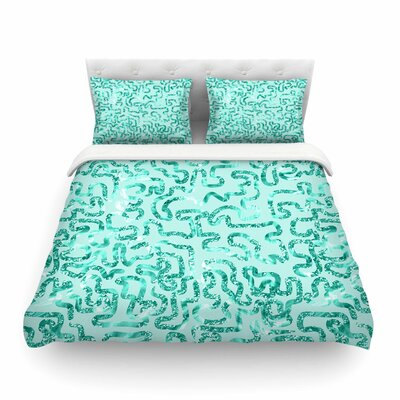 Squiggles by Anneline Sophia Featherweight Duvet Cover Color: Green/Teal, Size: Twin