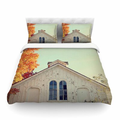 Fall Barn Top Orange Photgraphy Featherweight Duvet Cover Size: King