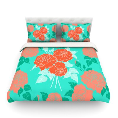 Summer Rose Featherweight Duvet Cover Color: Orange/Teal/Green, Size: Full/Queen