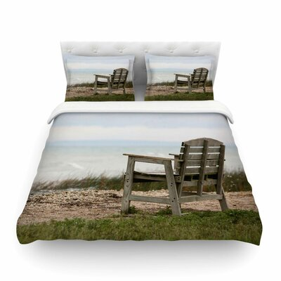 Beach Bench by Angie Turner Featherweight Duvet Cover Size: Twin