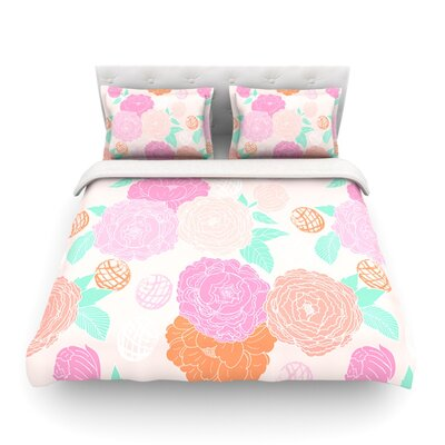 Peonies Peach Featherweight Duvet Cover Color: Pink/Peach Teal, Size: Full/Queen