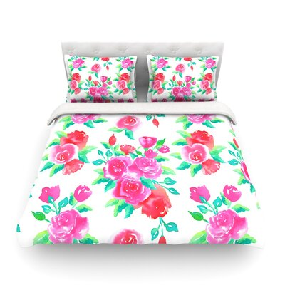 Roses Magenta Floral Featherweight Duvet Cover Size: Full/Queen