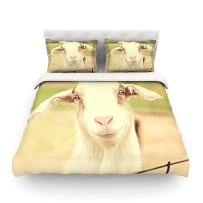 Happy Goat Smiling Animal by Angie Turner Featherweight Duvet Cover Size: Twin