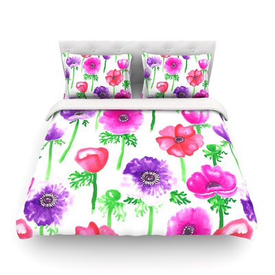 Anemones Pink Flowers Featherweight Duvet Cover Size: King