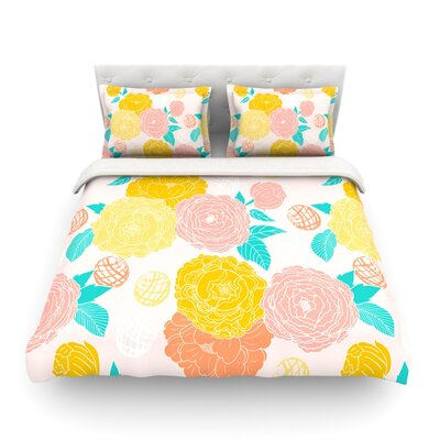 Peonies Peach Featherweight Duvet Cover Color: Peach/Yellow Pink, Size: Full/Queen