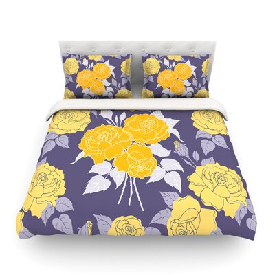 Summer Rose Featherweight Duvet Cover Color: Yellow/Purple, Size: Full/Queen