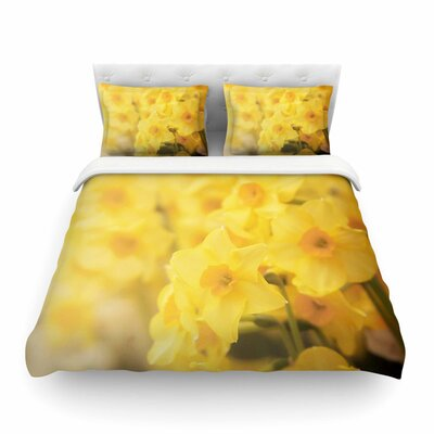Dreamy Daffodils Yellow Nature Featherweight Duvet Cover Size: Twin