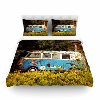 Hippie Bus by Angie Turner Featherweight Duvet Cover Size: King